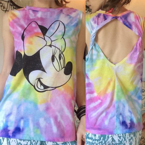 Disney Tops - Disney Minnie Mouse Tye Dye Cut Out Back Tank Top